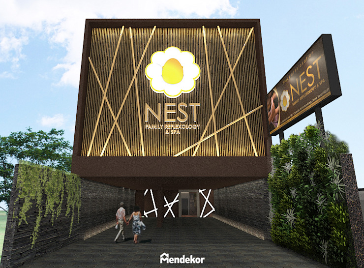 Facade Ruang Komersial Modern Oleh Mendekor Modern Bambu Green