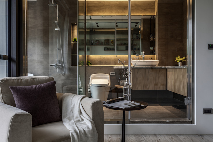 流光 現代浴室設計點子、靈感&圖片 根據 漢玥室內設計 現代風 大理石