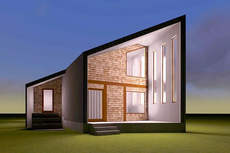 Fachada nocturna con iluminación de casa rural - Arquitectos en Coyhaique Moderno