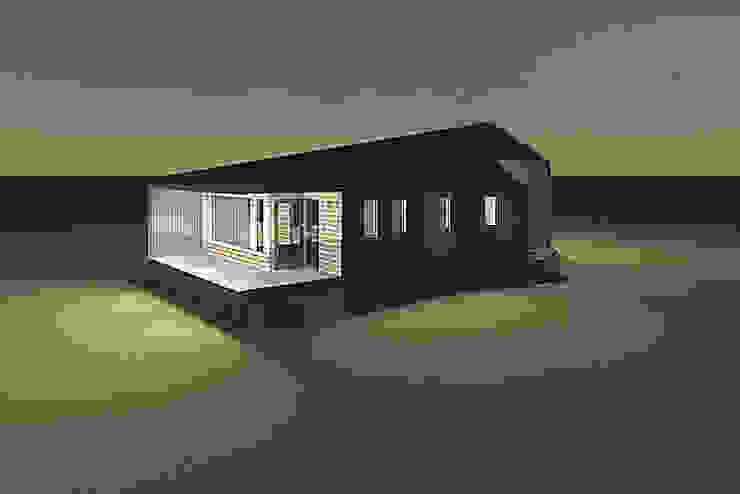 Fachada con vista desde el dormitorio de casa rural - Arquitectos en Coyhaique Moderno
