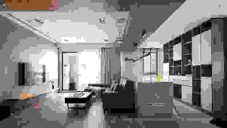 竹北-翰林富苑-S&C秘境 现代客厅設計點子、靈感 & 圖片 根據 極簡室內設計 Simple Design Studio 現代風