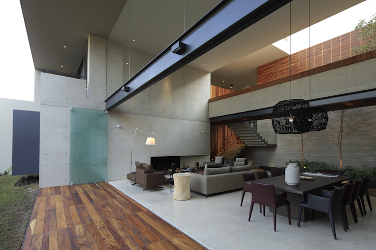 HNN HOUSE: Salas de estilo  por Hernandez Silva Arquitectos
