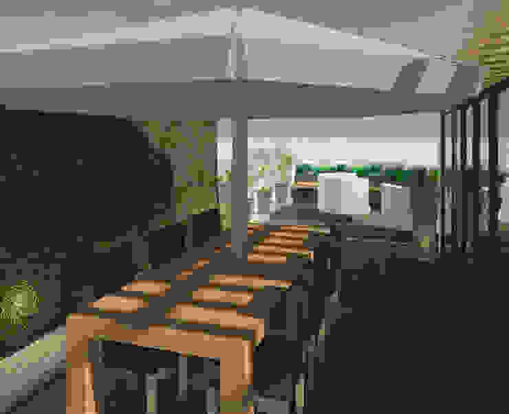 Comedor exterior Balcones y terrazas modernos de Perfil Arquitectónico Moderno