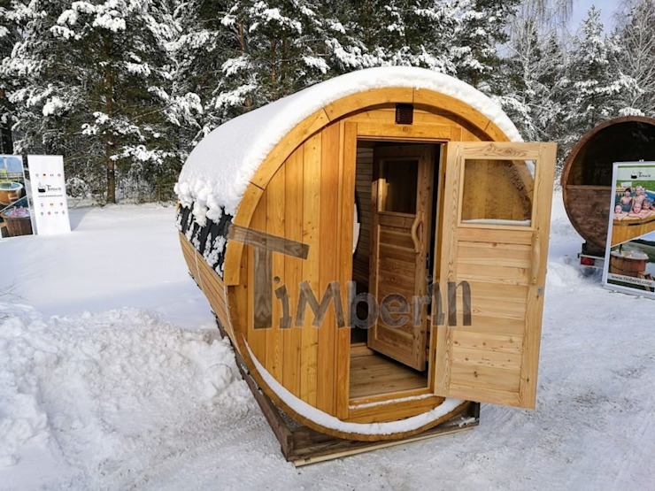 Outdoor – Buiten houten tuin sauna rond van TimberIN hot tubs en sauna's Scandinavisch