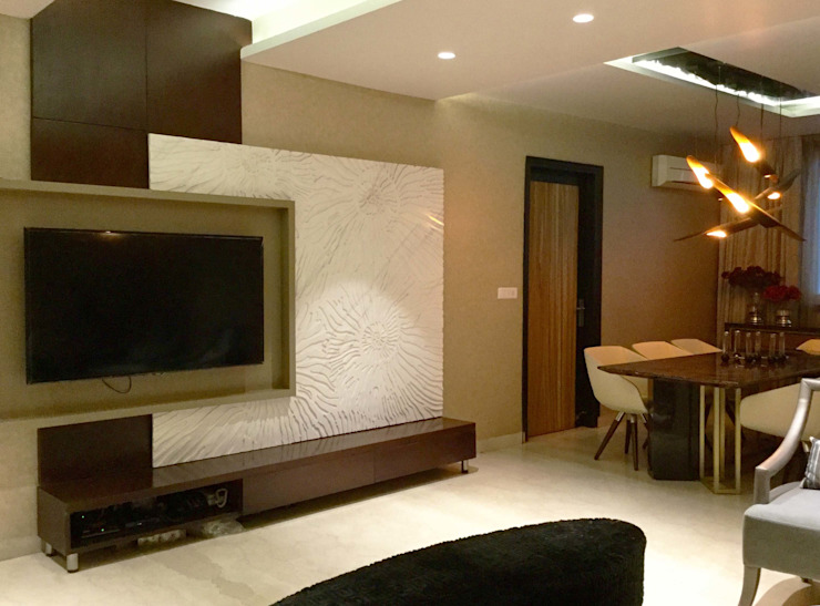 Residence Design, Bhera Enclave H5 Interior Design Eclectic style media room Marble Beige