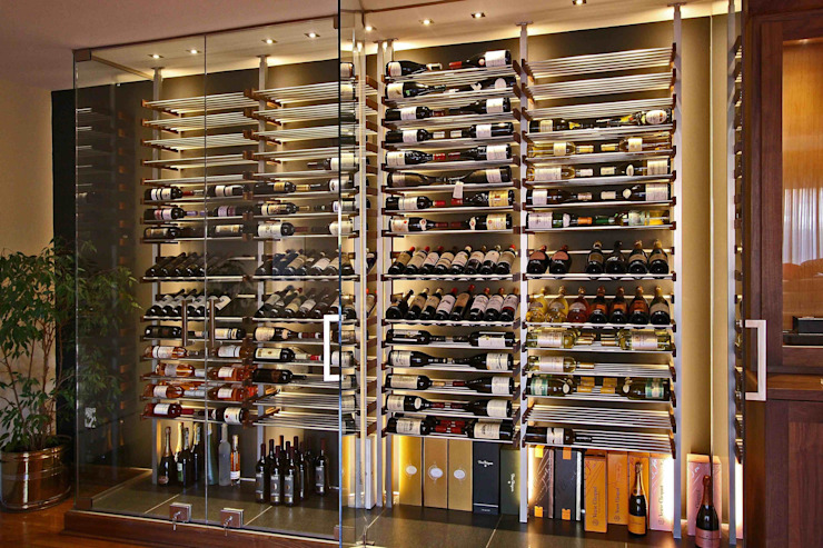 Cantina moderna di Millesime Wine Racks Moderno Legno Effetto legno