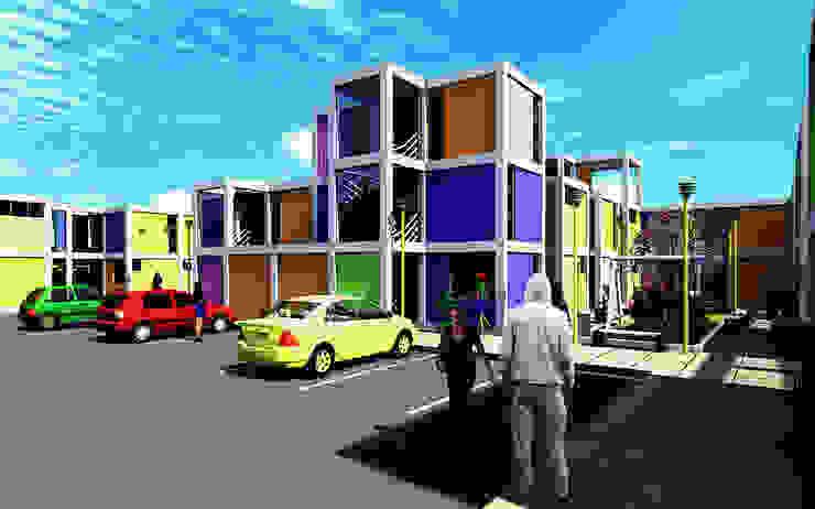 Concurso de vivienda Arkinka, Lima Dormitorios de estilo moderno de CARLOS SOTO ARQUITECTO Moderno Concreto