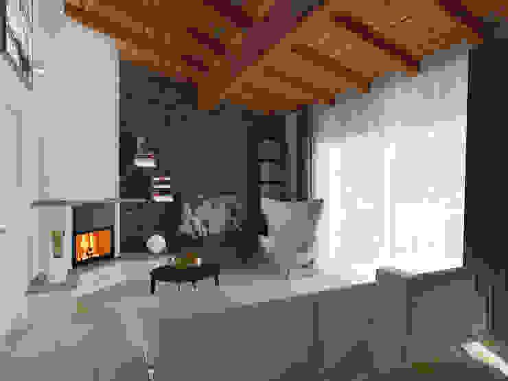 la parete camino/tv Soggiorno moderno di Flavia Benigni Architetto Moderno