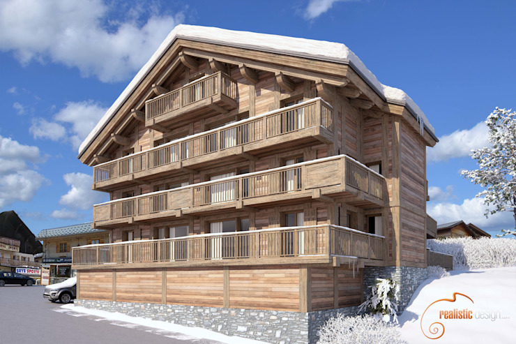 Perspectiva 3D, hotel de madera en la nieve de Realistic-design Rural
