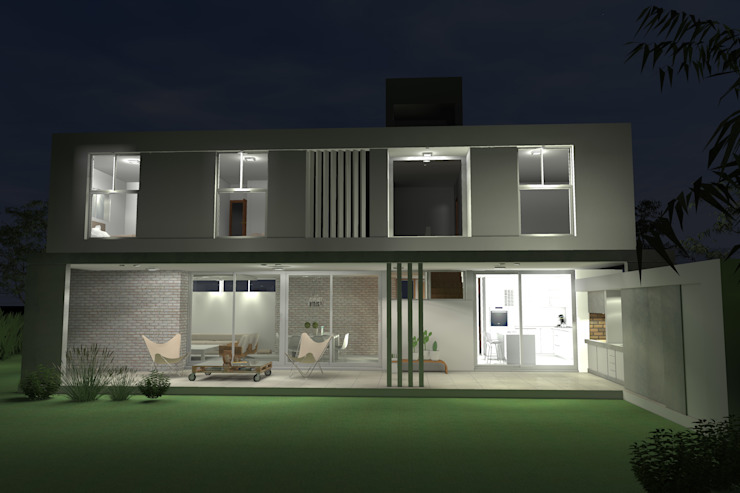 Fachada nocturna de Arquitectura Bur Zurita Moderno