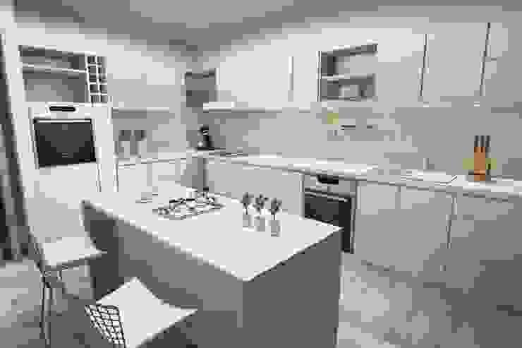 Cocina comedor diario de Arquitectura Bur Zurita Moderno