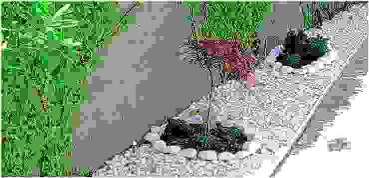 detalle de jardín perimetral de paisajistas y jardineros Asiático Piedra