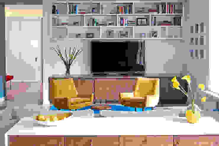 Tribeca Apartment Modern Media Room by Sarah Jefferys Design Modern