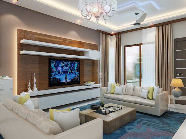 Independent Villa - Pune:  Living room by DECOR DREAMS,