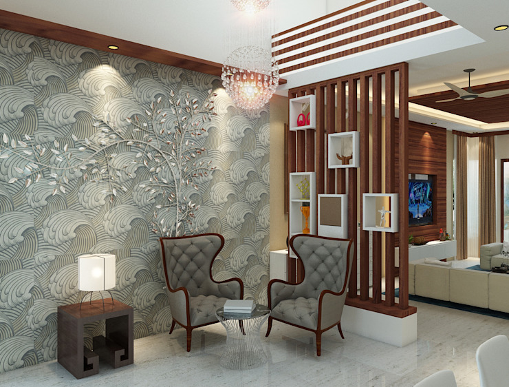 Independent Villa - Pune Modern Corridor, Hallway and Staircase by DECOR DREAMS Modern