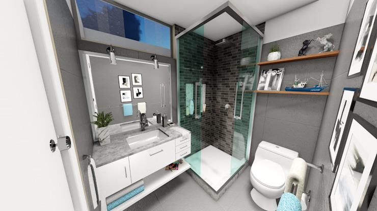 Baño principal: Baños de estilo  por Minkarq. Arquitectura y construcción,