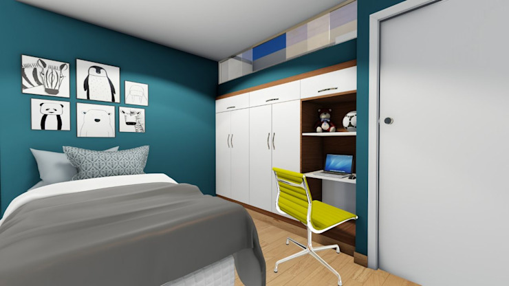 Dormitorio juvenil: Dormitorios de estilo  por Minkarq. Arquitectura y construcción, Moderno