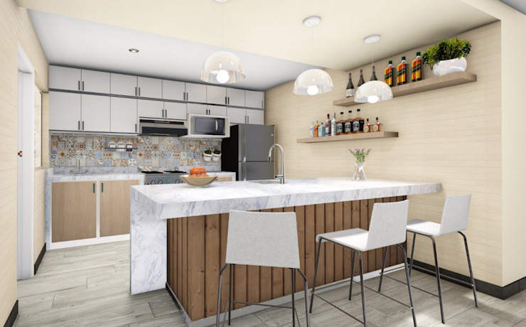 Cocina con barra de Minkarq. Arquitectura y construcción Moderno