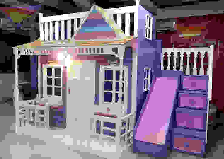 Preciosa casita celestial en morado de camas y literas infantiles kids world Clásico Derivados de madera Transparente