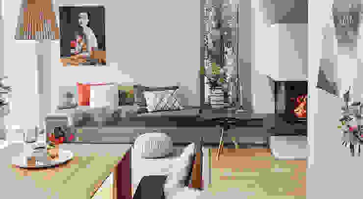 Sitzbank am Kamin Studio Meuleneers Moderne Wohnzimmer