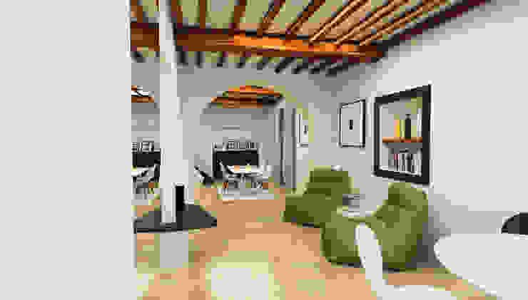 Prospettiva d'insieme dall'ingresso - Casa in Via San Martino - Pisa Ingresso, Corridoio & Scale in stile moderno di Studio Bennardi - Architettura & Design Moderno
