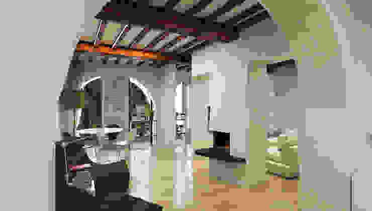 Area Leaving con camino elettrico - Casa in Via San Martino - Pisa Soggiorno moderno di Studio Bennardi - Architettura & Design Moderno