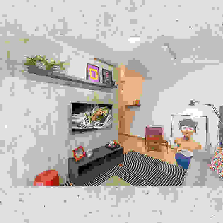 Sala de Estar Salas de estar ecléticas por CASARIN MONTEIRO ARQUITETURA & INTERIORES Eclético Concreto