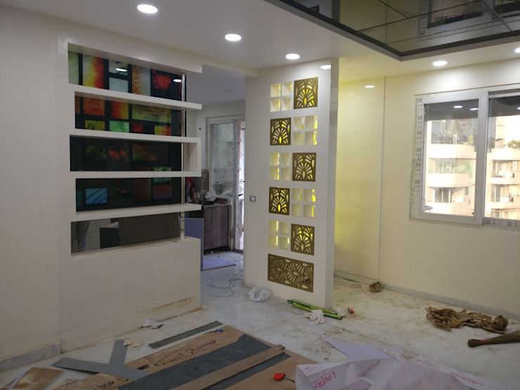 A Residence Design, Omaxe Forest, Noida Modern corridor, hallway & stairs by HOME CITY LIFESTYLE Modern MDF