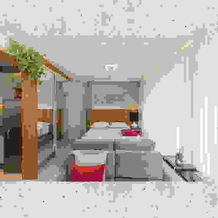 Flat Sampa Quartos modernos por CASARIN MONTEIRO ARQUITETURA & INTERIORES Moderno Concreto