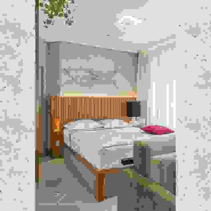 Flat Sampa Quartos modernos por CASARIN MONTEIRO ARQUITETURA & INTERIORES Moderno Madeira Efeito de madeira