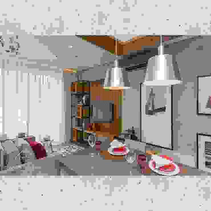 Flat Sampa Salas de estar modernas por CASARIN MONTEIRO ARQUITETURA & INTERIORES Moderno Concreto