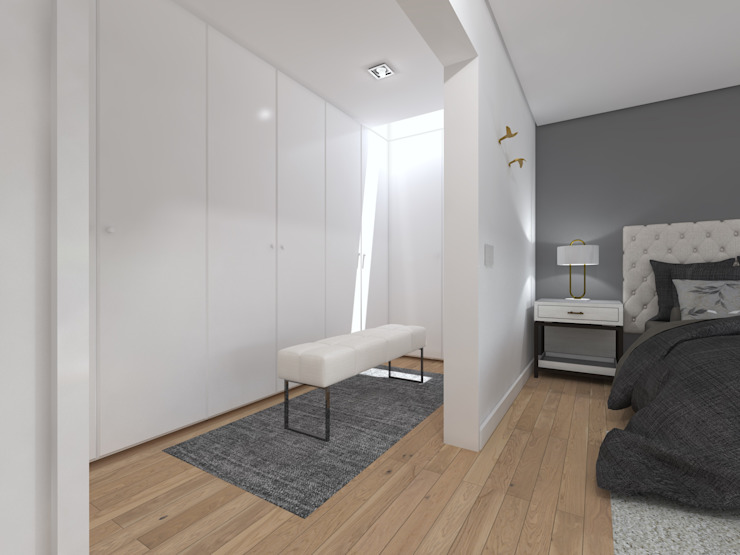 Moradia Unifamiliar - Quinta da Beloura, Sintra Closets minimalistas por núcleo B arquitetos Minimalista