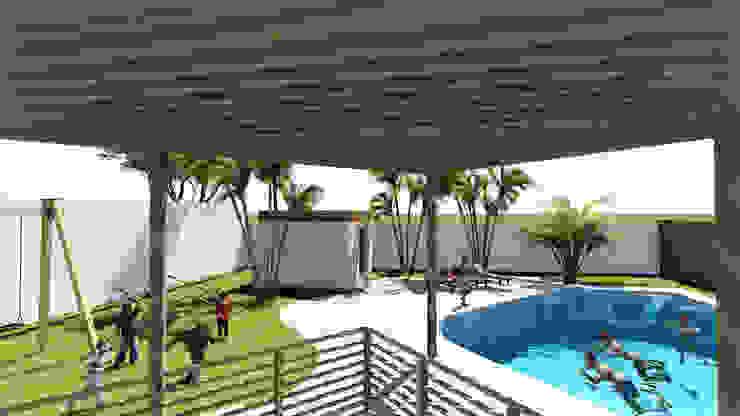 Vista Terraza Jardines de invierno de estilo rústico de Kiuva arquitectura y diseño Rústico Madera Acabado en madera