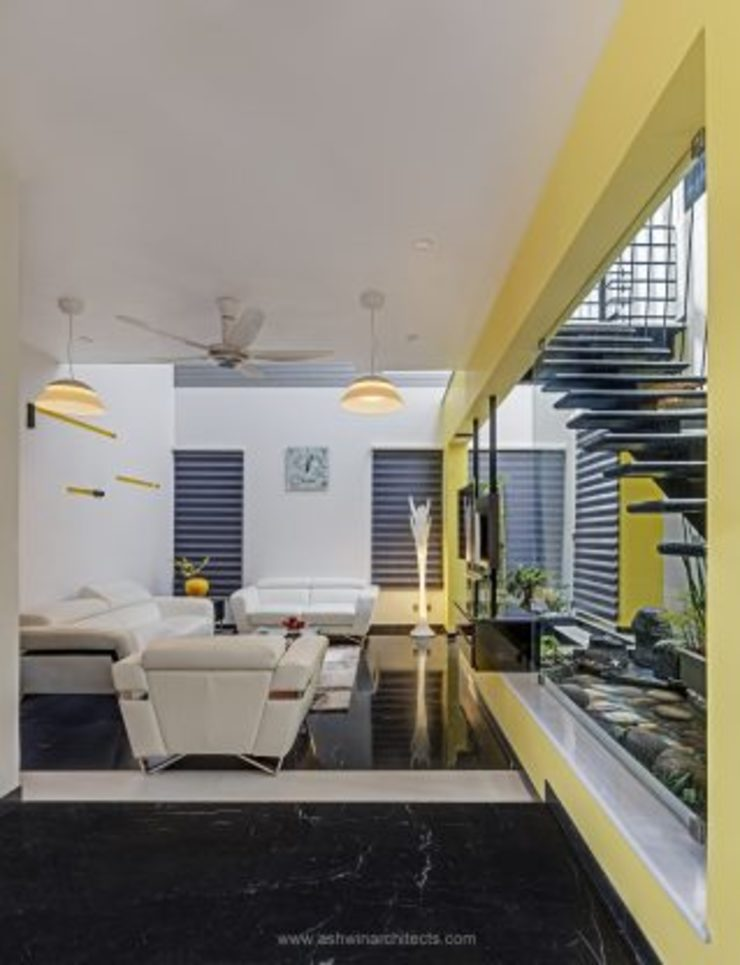 The Daylight Home | Luxurious 40×60 West Facing House Plans Design Modern living room by Ashwin Architects In Bangalore Modern