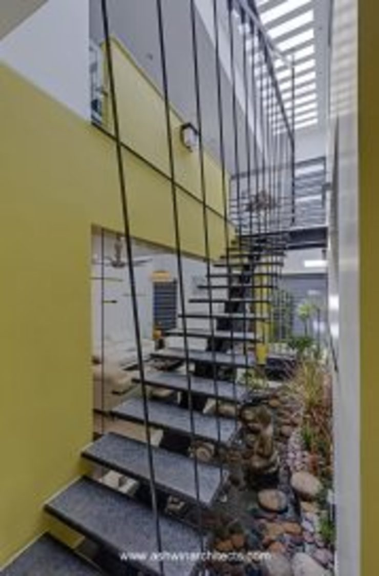 The Daylight Home | Luxurious 40×60 West Facing House Plans Design Modern corridor, hallway & stairs by Ashwin Architects In Bangalore Modern