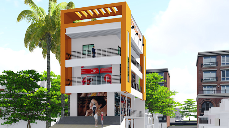 Isometric Elevation of the Building by Cfolios Design And Construction Solutions Pvt Ltd