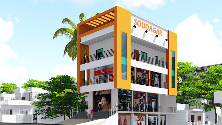 3D Elevation by Cfolios Design And Construction Solutions Pvt Ltd