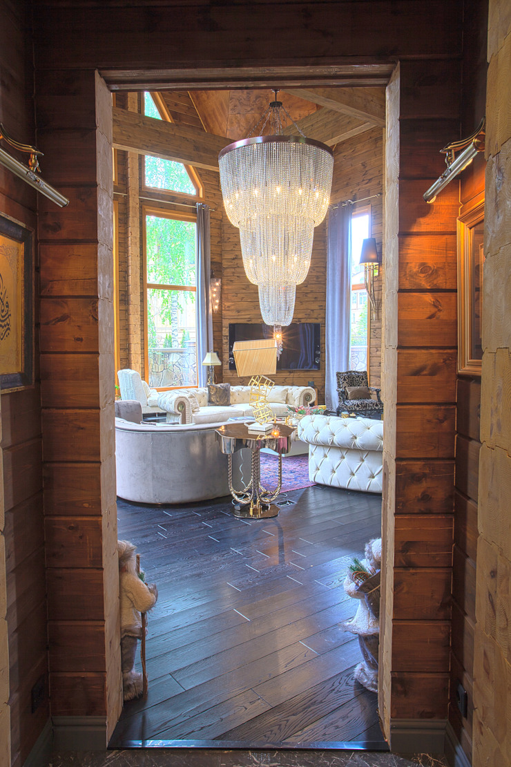 Log House Extension in Russia Rustic style corridor, hallway & stairs by Orkun İndere Interiors Rustic