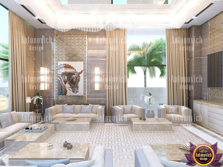 ​Modern contemporary interior design of Katrina Antonovich Modern living room by Luxury Antonovich Design Modern