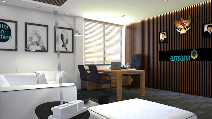 Interior Design PT Antam Pongkor Ruang Makan Modern Oleh CAA Architect Modern
