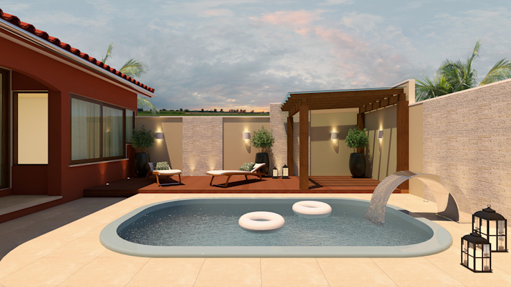 Tropical style pool by Adriana Costa Arquitetura Tropical