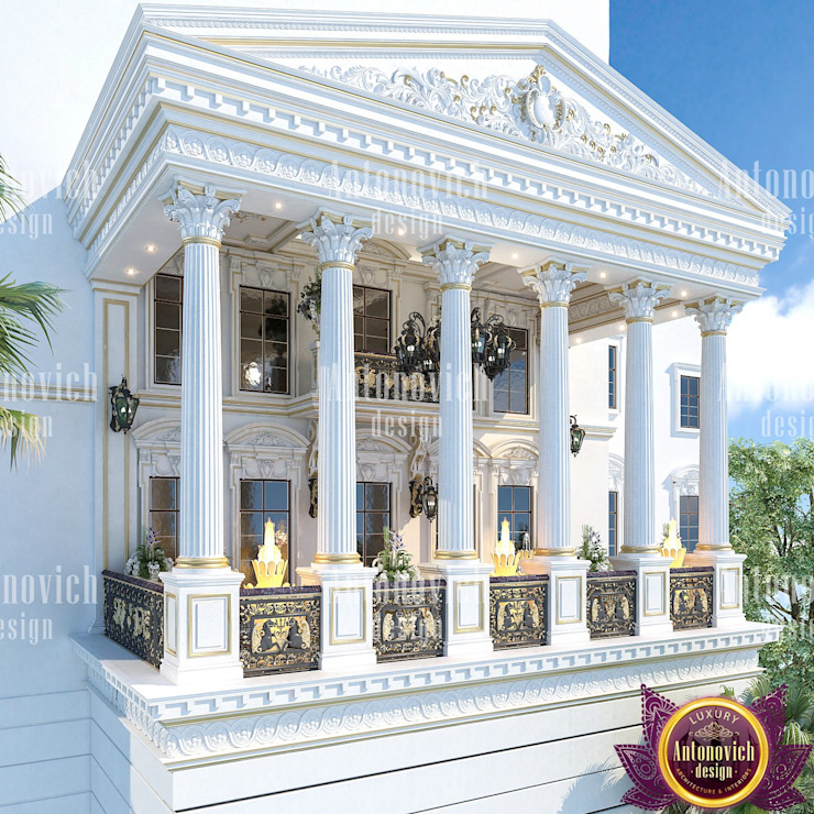 Excellent Villa exterior design by Katrina Antonovich Classic style houses by Luxury Antonovich Design Classic