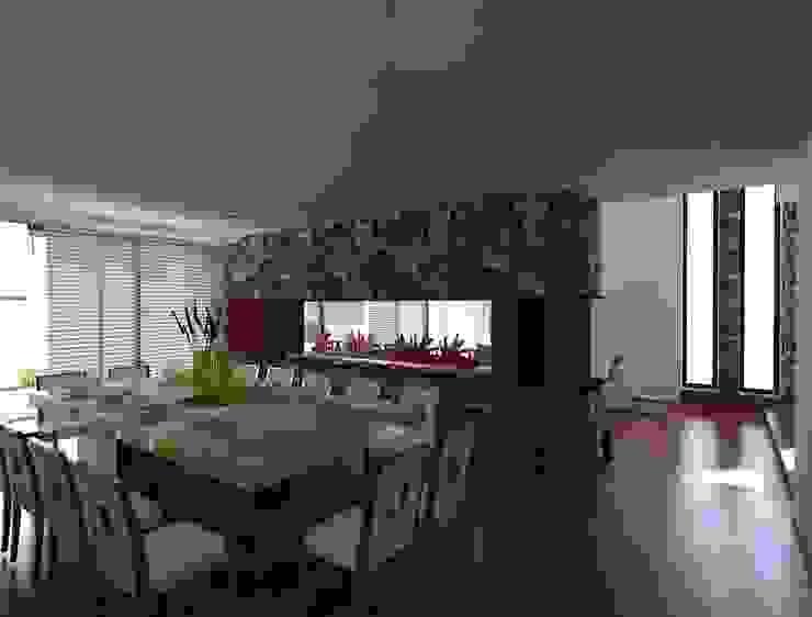 Diseño 3D del Comedor y Chimenea Salas de estilo moderno de CESAR MONCADA SALAZAR (L2M ARQUITECTOS S DE RL DE CV) Moderno