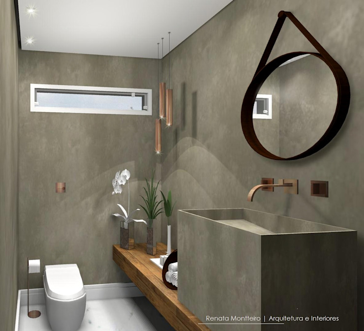 Lavabo: Banheiros  por Renata Monteiro Arquitetura e Interiores,