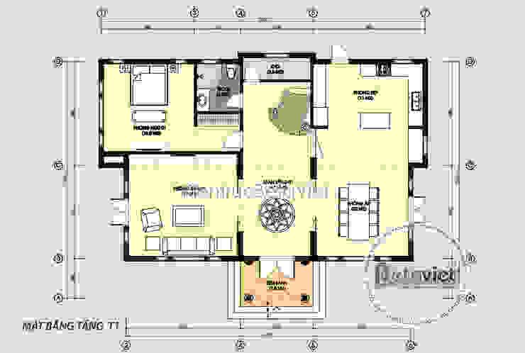 Mặt bằng tầng 1 mẫu thiết kế biệt thự đẹp 2 tầng theo phong cách Tân cổ điển châu Âu bởi Công Ty CP Kiến Trúc và Xây Dựng Betaviet