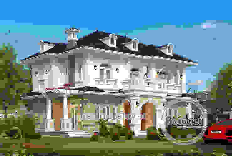 Phối cảnh mẫu thiết kế biệt thự đẹp 2 tầng theo phong cách Tân cổ điển châu Âu bởi Công Ty CP Kiến Trúc và Xây Dựng Betaviet