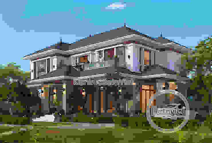 Phối cảnh mẫu thiết kế biệt thự nhà đẹp 2 tầng Hiện đại ( CĐT: Ông Luận - Mỹ Đức) KT18019 bởi Công Ty CP Kiến Trúc và Xây Dựng Betaviet