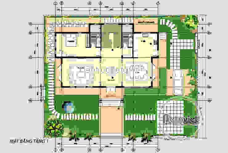Mặt tiền mẫu thiết kế biệt thự nhà đẹp 2 tầng Hiện đại ( CĐT: Ông Luận - Mỹ Đức) KT18019 bởi Công Ty CP Kiến Trúc và Xây Dựng Betaviet