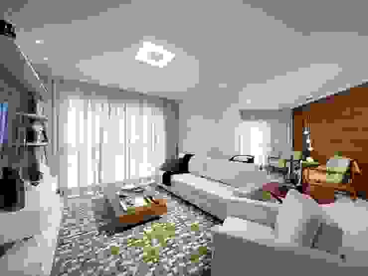 Maison Brodeaux Salas de estar modernas por Aline Dinis Arquitetura de Interiores Moderno Derivados de madeira Transparente