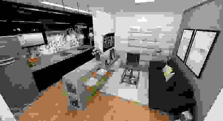 Cozinha Integrada Rafaela Stedile Arquitetura + Interiores Cozinhas embutidas MDF Preto